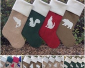 Family Stockings, Five Custom Christmas Stockings, Burlap Christmas Stockings, Simple Woodland Chic- You Design