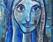 Anointed X, Blue Lady Painting, Psalm 91 Bible Art