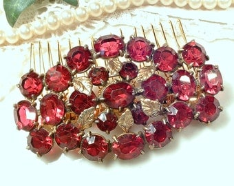 Dark Red Bridal Hair Comb or Sash Brooch, Antique Art Deco Czech Ruby Red Rhinestone Gold Filigree OOAK Hairpiece Vintage Wedding Head Piece