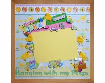 EASTER EGG HUNT Pre-made Memory Album Page (Gallery Wood Frame Sold Separately)