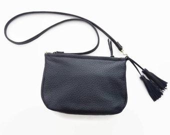 Black leather crossbody bag, Black shoulder purse with tassels, Medium messenger bag, Bag with removeable strap