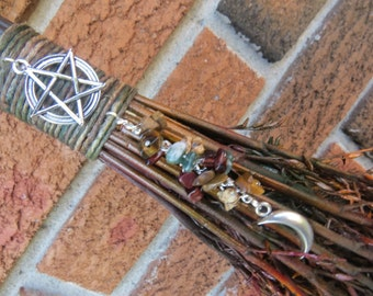 Altar Broom in Fall Harvest Colors, Witches Altar Broom, Pagan Altar Besom, Witchcraft, Wiccan Altar, Rustic Corn Broom, Autumn, Samhain