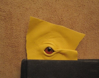 Grichels leather bookmark - yellow with red and yellow bird eye
