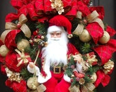 Luxurious Santa Wreath, Traditional Christmas Wreath, XXL Christmas Wreaths, Santa Door Wreath, Red and Gold