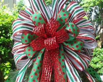 Ribbon Candy Christmas Tree Topper Bow, Christmas Tree Bow, Bow Topper, Red White and Green, Candy Cane Bow Topper, Garland Bows
