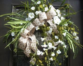 Burlap Summer Wreath, Summer Wreath Etsy, Burlap Wreath, Wedding Wreath, Door Wreath