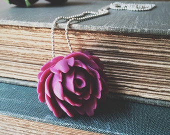 Ox Blood Wine Burgany Resin Rose Necklace
