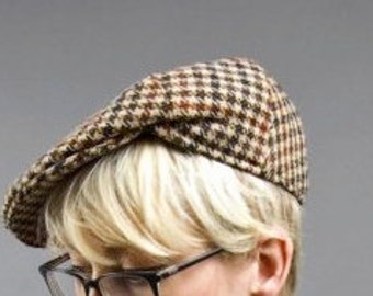 Vintage Houndstooth Newsboy Cap Small