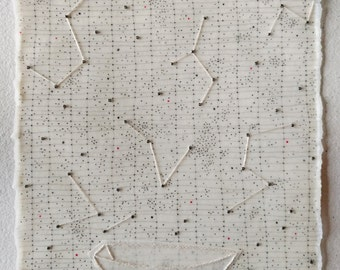 Mixed Media Drawing with Boat and Constellations / The Art of Wonder, Suite 3 no.8