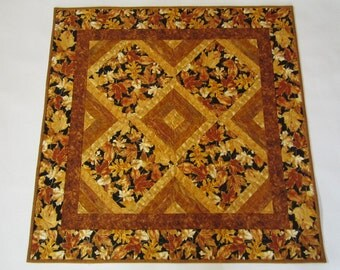 Quilted Table Topper, Table Topper, Fall Leaves, Handmade Table Topper, Gold Leaves, Table Quilt, Home Decor, Fall Decor, Table Decor