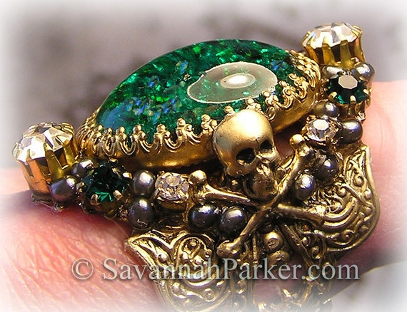 Antique Style Victorian Edwardian PIRATE Ring - Green Glass Fire Opal - Skull and Crossbones - Grey Pearls - Pirate Jewelry