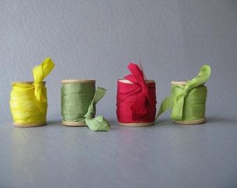 Ribbon on Wood Spools, silk ribbon, yellow, green, red, mixed colors