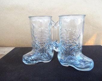 Pair of Vintage Pressed Glass Cowboy Boot Steins