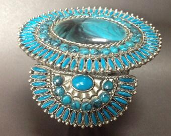 Big Costume Native American Cuff Bracelet – 1970s Petit Point