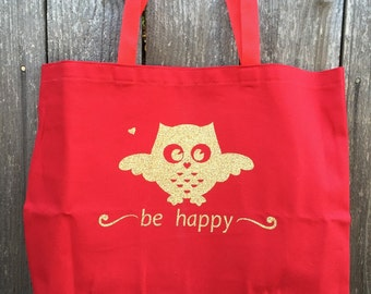 """Canvas Owl Tote - Red with Gold Vinyl Owl (Large 18""""x 16"""")"""