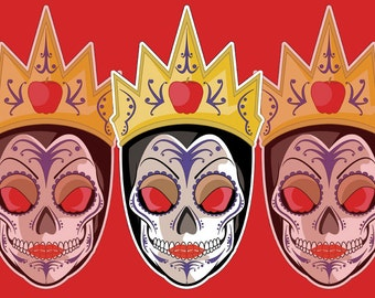 Evil Queen Sugar Skull 3x4 Vinyl Sticker