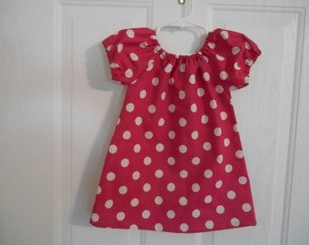 Peasant dress girls hot pink  white dots flutter sleeves or elastic sleeves choice of sleeve color available infant thru 8 years