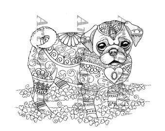 Art of Pug Single Coloring Page Teacup Pug