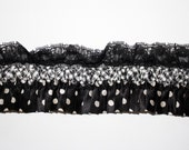 """Approx 4 metres, black and white spots and stripes stretch lace trim, 8cm wide (3"""" wide)"""