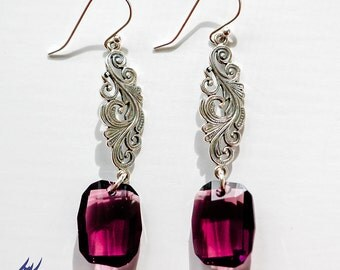 Amethyst Swarovski Crystal Earrings, Sterling Silver Ornate Filigree Earrings, Statement Earrings, Long Purple Earrings, Statement Earrings