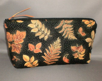 Cosmetic Bag - Makeup Bag - Large Zipper Pouch - Autumn Leaves - Orange, Rust, Gold