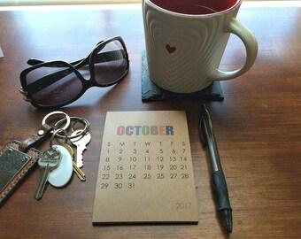 2016-17 Small Desk Calendar or Wall Calendar - Modern Typography, Colored Typographic Calendar, Kraft Paper Block Type Minimalistic