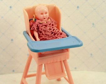 Dollhouse Nursery Highchair w Baby Doll Ideal Young Decorator Toy 1950s Miniature Furniture