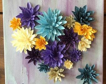 BLOOMING HEART Hand Cut Paper Flowers Original Artwork by jettabees