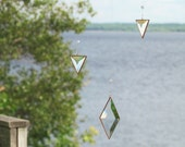 Hanging Mobile Geometric Glass Crystal and Copper Mobile of Triangles and Diamond
