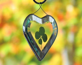 Genuine Four Leaf Clover Glass Heart Ornament Botanical Suncatcher One of a Kind Valentine Unique Wedding Gift
