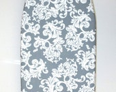Padded Tabletop Ironing Board Cover - Economy Price - (all in one) Grey - Gray Acanthus Scroll design on a White background.