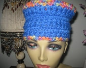 royal blue colorfull crochet hat hippie bohemian psychedelic