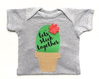 Cactus Gift, Baby Clothes, Desert Gifts, Lets Stick Together, Graphic Tee Shirt, Baby Shower Gift, Arizona Love, Potted Succulent, Bodysuit
