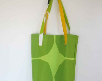 Marimekko bag, market bag, tote, modern fabric, mod, green kivet