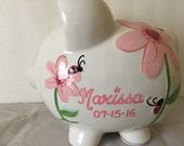Personalized Pink  Ladybug and flowers polka dots Piggy  Bank Newborns , Birthday,Girls,Flower Girl,Baby Shower Gift Centerpiece