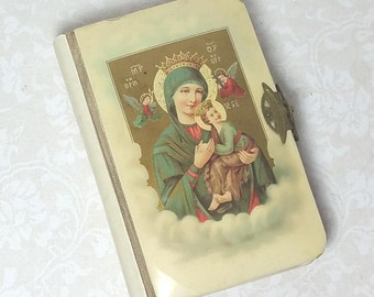CELLULOID PRAYER BOOK, 1921, Polish Language, Shell Cross Insert, Vintage, Antique Bible, Religious, Spiritual, Sacred Book