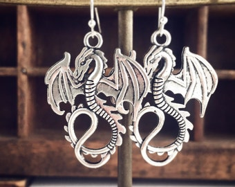 Dragon Earrings / Silver Renaissance Festival Faire Costume Cosplay Fantasy LARP Lover Gothic Wedding Bridesmaids Bridal Party Gifts Favors
