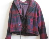 Vintage Hooded Coat 1980s Oversized Magenta Purple Plaid Wool Toggle Buttons 80s Jewel Tone Medium Large M L Winter Indie Chic