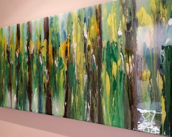 """Original Painting Colorful Large One Of A Kind High Gloss Abstract Painting By Justin Strom 40"""" x 16"""" Modern Art Fine Art Interior Design"""