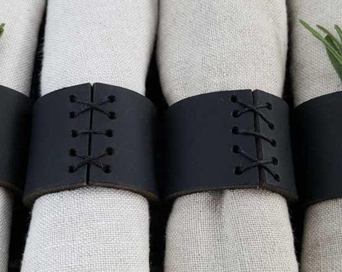 Black Leather Napkin Rings - Made in Canada ~Wedding ~ Hostess Gift ~ Casual Dining- Alfresco ~ Housewarming Gift - Home Decor- Table Decor