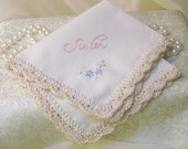 Sister Handkerchief, Hanky, Hankie, Hand Crochet, Embroidered, Lace, Floral, Off White, Personalized, Ready to ship