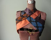 RESERVED Repurposed Necktie Vest, Steampunk Harness, Upcycled Clothing, Orange and Blue Vest, Gaslight Gathering Punk Clothing Hipster