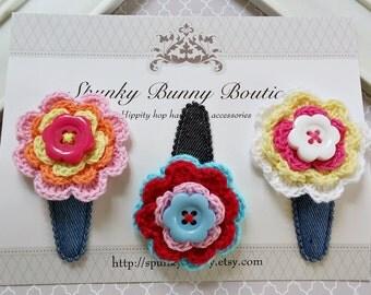 Colorful Crochet Flower Snap Clips, Children Hair Clips, Flower Hair Clips, Toddler Hair Clip,Little Girl Hair Barrettes,Crochet Accessories