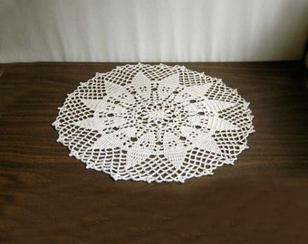 New Sunflower Decor Crochet Lace Doily, Table Centerpiece, Ecru Flower, 14 Inches, Original Design, Summer Decor