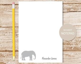 personalized notepad . elephant notepad . elephant note pad . personalized stationery . stationary notepad
