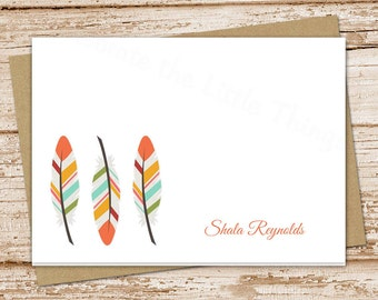 feathers note cards notecards . tribal feathers . personalized stationery . folded stationary . set of 8