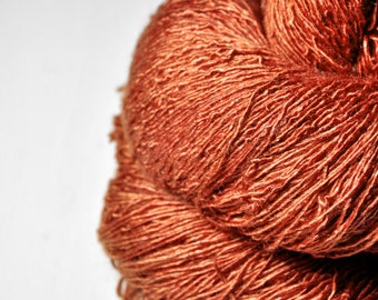 Phoenix rising from the ashes OOAK - Tussah Silk Fingering Yarn