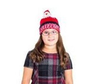 Knitted Hat-Beanie with Santa Pom Pom ( toy)