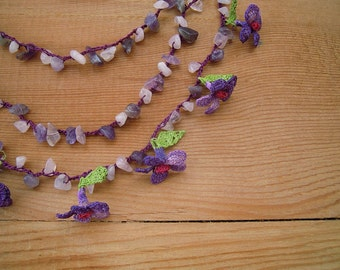 purple crochet flower necklace, multi strand, oya necklace