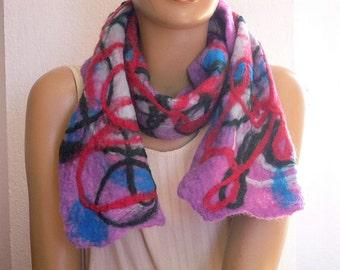woolen scarf, lilac felt